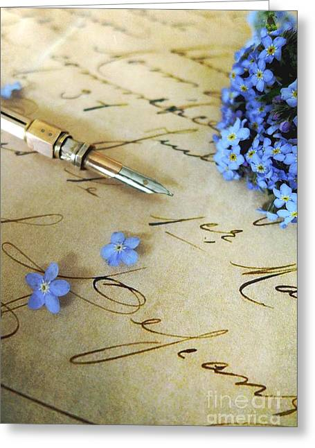 Pen And Paper Greeting Cards - Letter and forget me nots Greeting Card by Alison Burford