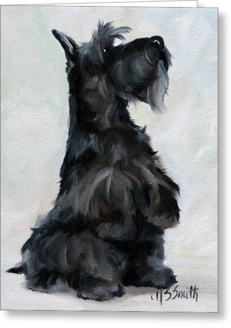 Scottish Terrier Puppy Greeting Cards - Please Greeting Card by Mary Sparrow