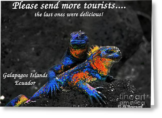 Hoodies Greeting Cards - Please Send More Tourists - Marine Iguana Greeting Card by Al Bourassa