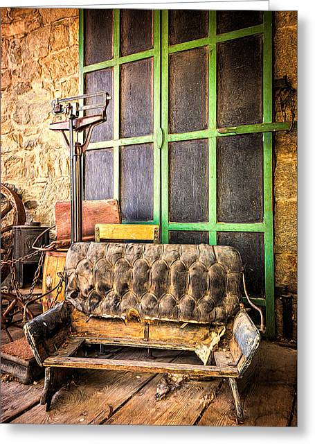 Historic Country Store Greeting Cards - Please Sit Down Greeting Card by Maria Coulson