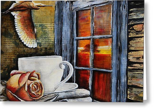 Cabin Window Mixed Media Greeting Cards - Pleasure Greeting Card by Patricia Pasbrig