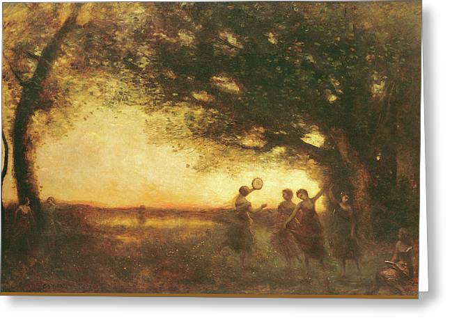 Pleasures Of The Evening Greeting Card by Jean Baptiste Camille Corot