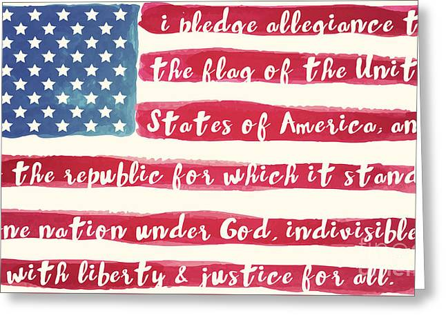 Pledge Of Allegiance American Flag Greeting Card by Mindy Sommers