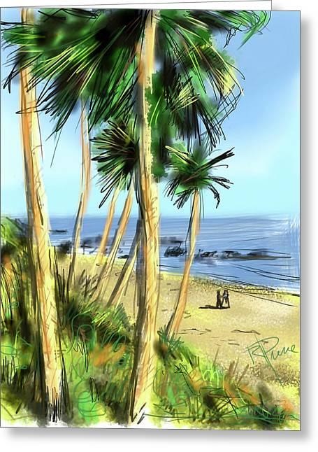 Heisler Park Greeting Cards - Plein Air Painter Greeting Card by Russell Pierce
