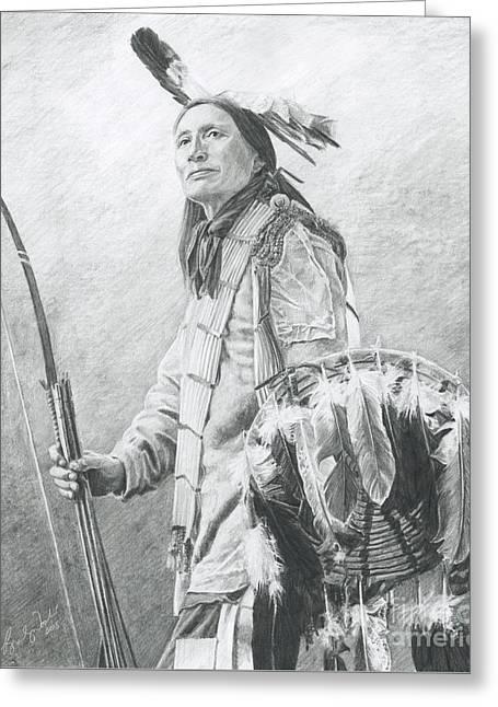 Powwow Greeting Cards - Taopi Ota - Lakota Sioux Greeting Card by Brandy Woods