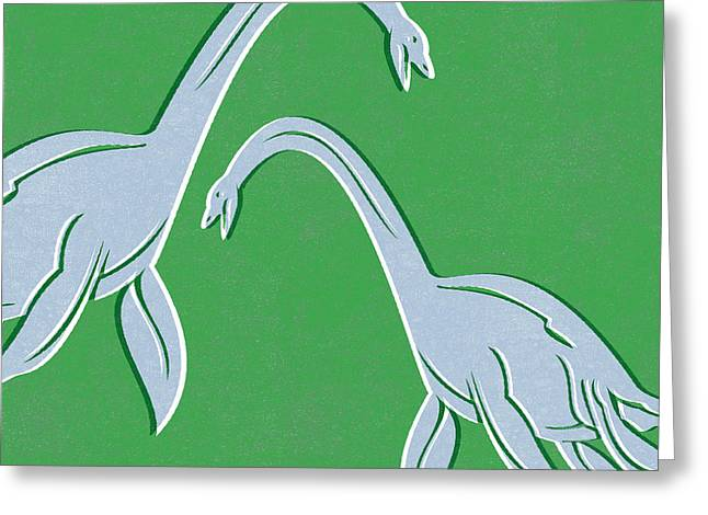 Prehistoric Greeting Cards - Plesiosaurus Greeting Card by Linda Woods