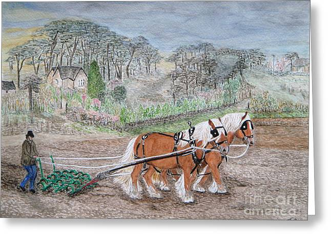 Cultivation Paintings Greeting Cards - Plough Horses Greeting Card by Yvonne Johnstone