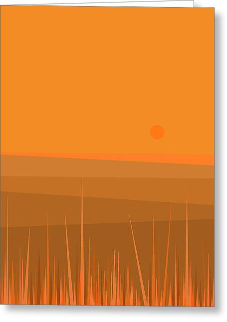 Minimalist Landscape Greeting Cards - Plowed Fields Greeting Card by Val Arie