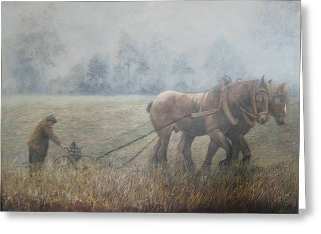 Plowing It The Old Way Greeting Card by Donna Tucker
