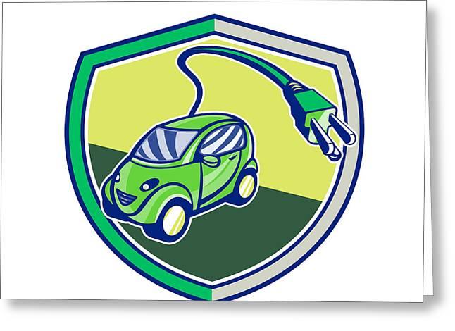 Electric Vehicle Greeting Cards - Plug-in Hybrid Electric Vehicle Retro Shield Greeting Card by Aloysius Patrimonio