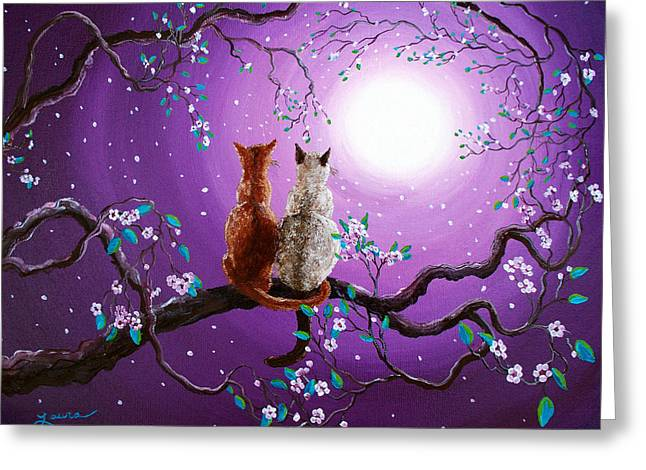 Moon Flower Greeting Cards - Plum Blossoms in Pale Moonlight Greeting Card by Laura Iverson