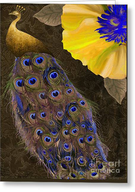 Cobalt Blues Greeting Cards - Plumage II Greeting Card by Mindy Sommers