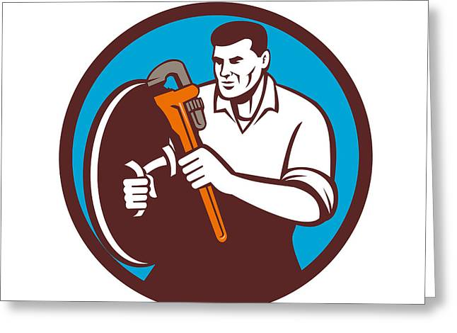 Brandishing Greeting Cards - Plumber Brandishing Wrench Circle Retro Greeting Card by Aloysius Patrimonio