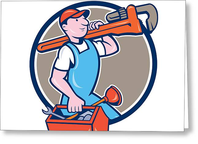 Plumber Greeting Cards - Plumber Carrying Monkey Wrench Toolbox Circle  Greeting Card by Aloysius Patrimonio