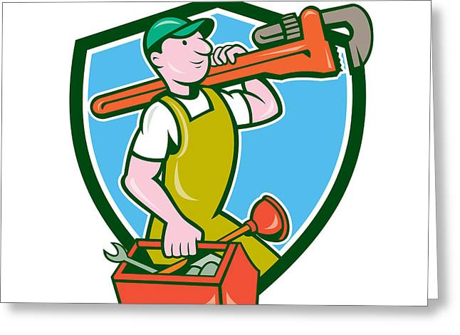 Overalls Digital Greeting Cards - Plumber Carrying Monkey Wrench Toolbox Crest Greeting Card by Aloysius Patrimonio