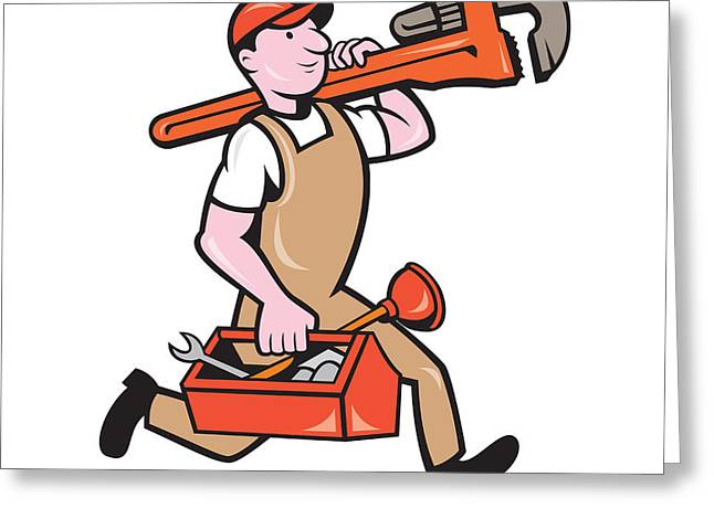 Overalls Greeting Cards - Plumber Carrying Monkey Wrench Toolbox Running Greeting Card by Aloysius Patrimonio