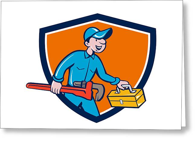 Toolbox Greeting Cards - Plumber Carrying Monkey Wrench Toolbox Shield Greeting Card by Aloysius Patrimonio