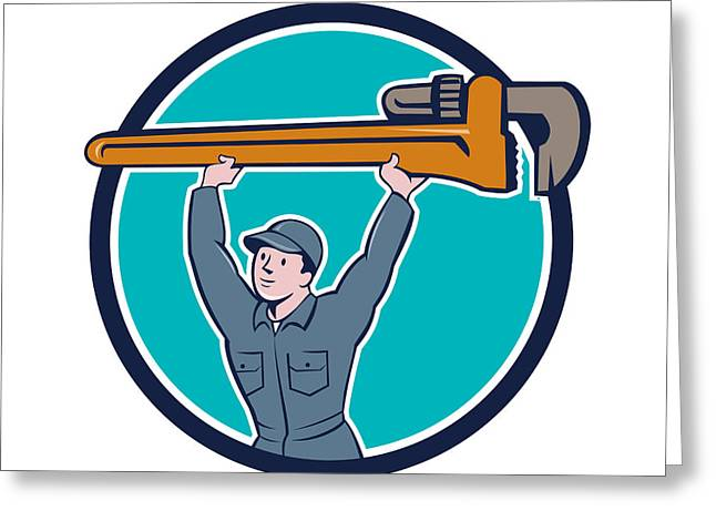 Overalls Greeting Cards - Plumber Lifting Monkey Wrench Circle Cartoon Greeting Card by Aloysius Patrimonio