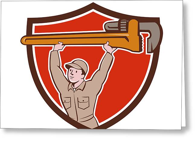 Overalls Greeting Cards - Plumber Lifting Monkey Wrench Crest Cartoon Greeting Card by Aloysius Patrimonio
