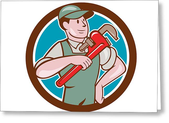 Overalls Greeting Cards - Plumber Pointing Monkey Wrench Circle Cartoon Greeting Card by Aloysius Patrimonio