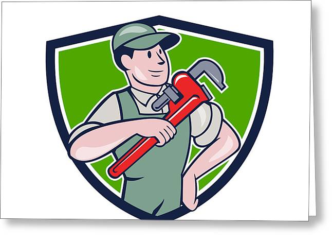 Overalls Greeting Cards - Plumber Pointing Monkey Wrench Shield Cartoon Greeting Card by Aloysius Patrimonio