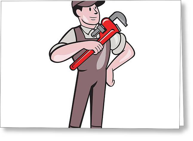 Overalls Greeting Cards - Plumber Pointing Monkey Wrench Standing Cartoon Greeting Card by Aloysius Patrimonio