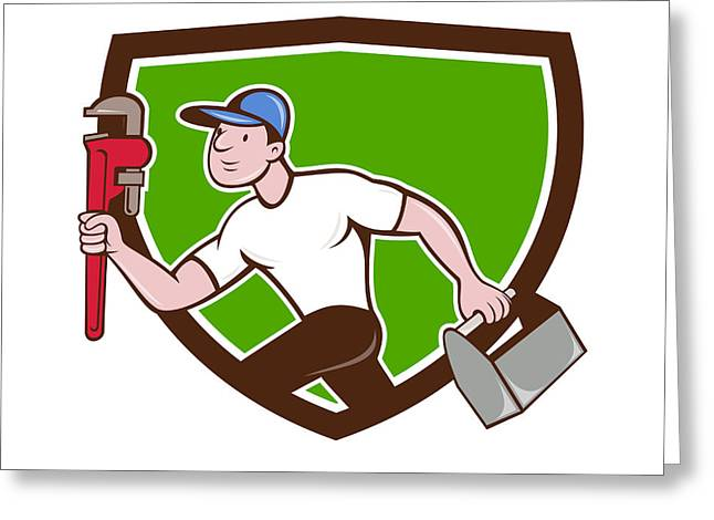 Toolbox Greeting Cards - Plumber Running Toolbox Wrench Crest Cartoon Greeting Card by Aloysius Patrimonio