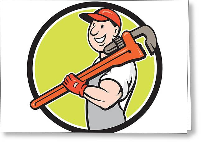 Plumber Greeting Cards - Plumber Smiling Holding Monkey Wrench Circle Cartoon Greeting Card by Aloysius Patrimonio