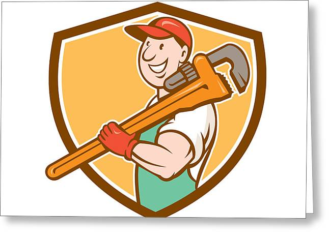 Overalls Greeting Cards - Plumber Smiling Holding Monkey Wrench Crest Greeting Card by Aloysius Patrimonio