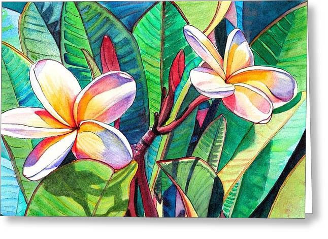 Reds Greeting Cards - Plumeria Garden Greeting Card by Marionette Taboniar