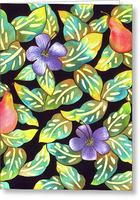 Pear Tapestries - Textiles Greeting Cards - Plumeria Pears Greeting Card by Leslie Marcus