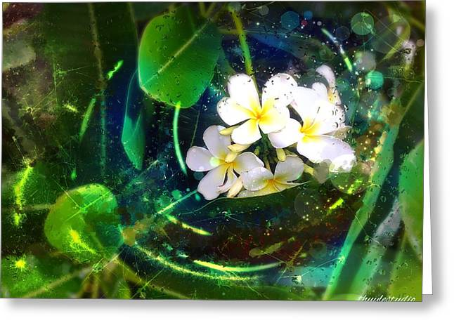 Abstract Expression Greeting Cards - Plumerias Greeting Card by Thuy Le