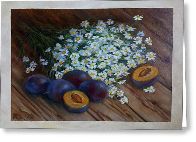 Cooks Illustrated Paintings Greeting Cards - Plums and daisies Greeting Card by Katrin Aster