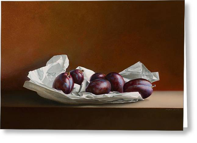 Photorealism Greeting Cards - Plums on Wrapping Paper Greeting Card by Mark Van crombrugge