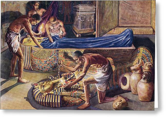 Pharaoh Drawings Greeting Cards - Plundering Pharaoh Theban Tomb Robbers Greeting Card by Ken Welsh