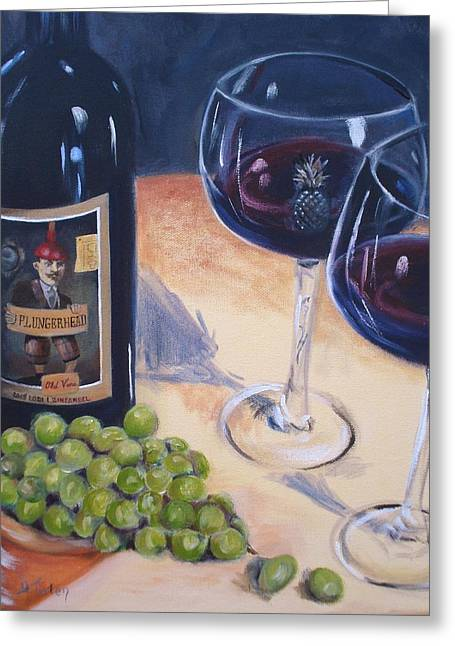 Red Wine Bottle Greeting Cards - Plungerhead Greeting Card by Donna Tuten