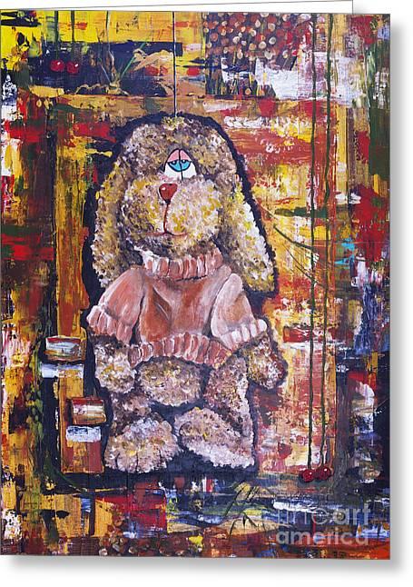 Toy Dog Greeting Cards - Plush shaggy toy doggie Greeting Card by Irina Gromovaja