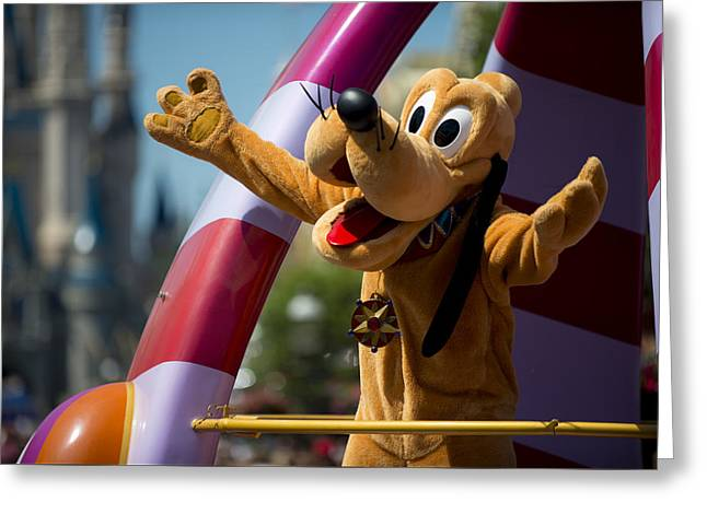 Main Street Greeting Cards - Pluto Disney World Greeting Card by Kevin Cable
