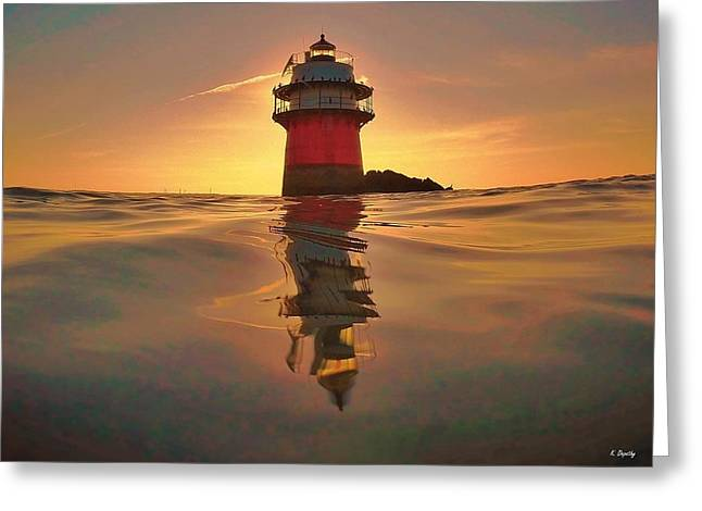 Plymouth Harbor Greeting Cards - Plymouth Bug Light  Greeting Card by Kevin Depathy