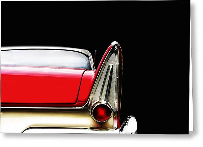 Plymouth Fury Fin Detail Greeting Card by Mark Rogan