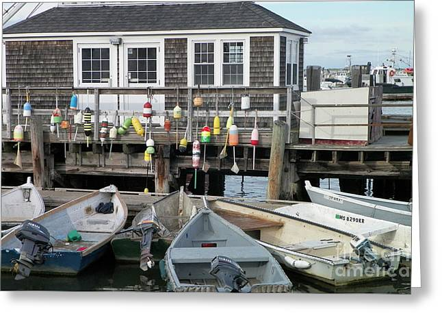 Docked Boat Greeting Cards - Plymouth Harbor Greeting Card by Gina Sullivan