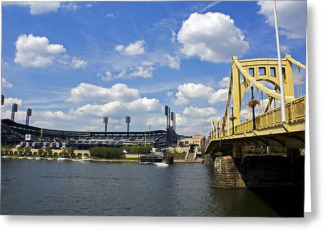 Roberto Greeting Cards - PNC Park and Roberto Clemente Bridge Pittsburgh PA Greeting Card by Kristen Vota
