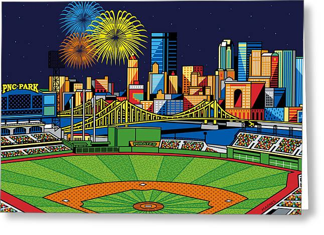 Fireworks Greeting Cards - PNC Park fireworks Greeting Card by Ron Magnes