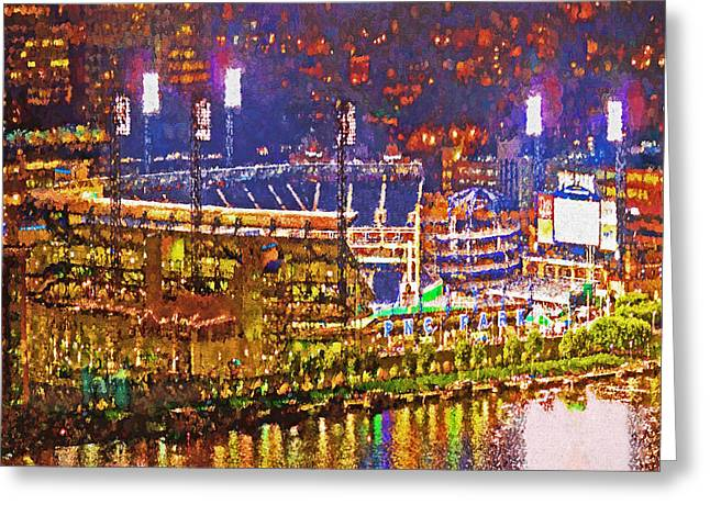 Pnc Park On A Light Up Night Greeting Card by Digital Photographic Arts