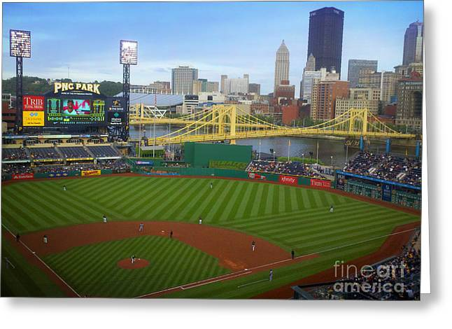 Pirates Greeting Cards - PNC Park Pittsburgh Pirates Ball Field and Skyline Greeting Card by Shelly Weingart