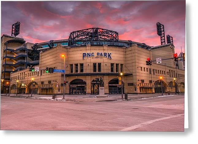 Pnc Park Sunrise, Pittsburgh, Pennsylvania, Usa Greeting Card by Joseph Heh