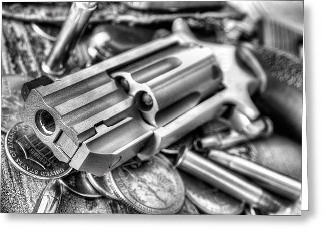 Pocket Change Black And White Greeting Card by JC Findley