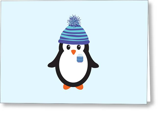 Pocket Snowflake The Penguin Greeting Card by Natalie Kinnear