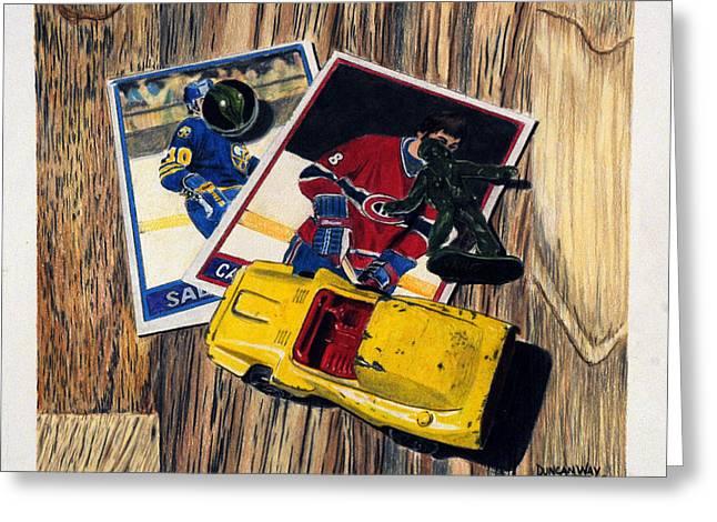 Hockey Drawings Greeting Cards - Pocket Treasures Greeting Card by Duncan  Way