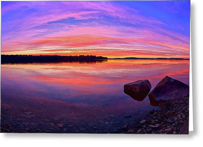 Modern Art Greeting Cards - Pocomoonshine Sunset 2 Panorama Greeting Card by Bill Caldwell -        ABeautifulSky Photography